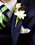 Boutonnieres-white, green, blue