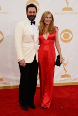 Jon Hamm in Giorgio Armani and Jennifer Westfeldt in J.Mendel