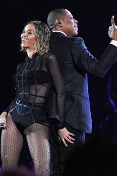 Beyoncé in La Perla Cage Collection bustier, Stuart Weitzman heels, Saint Laurent crystal tights and Jennifer Fisher jewellery
