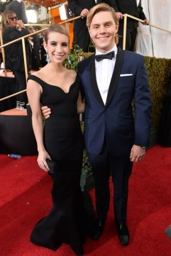 Emma Roberts in Lanvin with fiancé Evan Peters