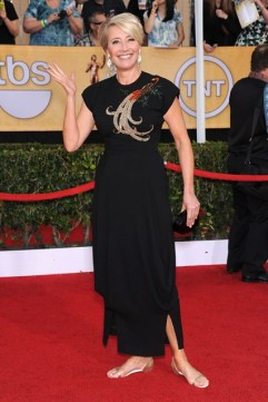 Emma Thompson wore a vintage gown from William Vintage with Christian Louboutin flat pumps and a Lauren Merkin clutch