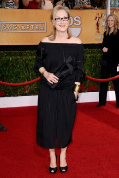 Meryl Streep wore a Stella McCartney dress and Louboutin clutch