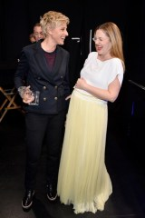 Drew Barrymore in Vionnet with Ellen Degeneres