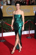 Sandra Bullock wore a strapless dress by Lanvin with Jimmy Choo sandals and a Roger Vivier clutch