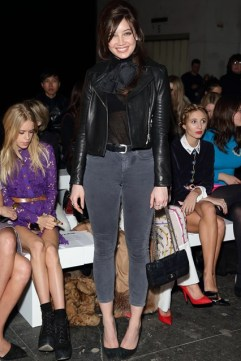 Daisy Lowe wore a J Brand leather jacket to the House of Holland show