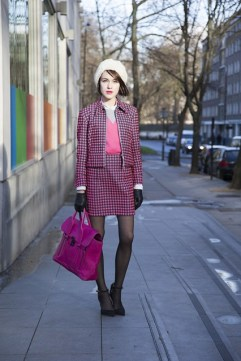 Ella Catliff in a Antipoduim suit and 3.1 Phillip Lim bag