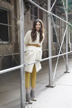 Emily Lane in a Milly coat, Club Monaco trousers and Rebecca Minkoff boots