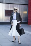 Jane Keltner de Valle in a Jason Wu jacket, Proenza Schouler skirt and Mulberry bag
