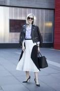 Jane Keltner de Valle in a Jason Wu jacket, Proenza Schouler skirt and Mulberry bag