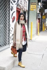 Karina Peregrina in a Carven coat, Scotch & Soda shirt and Levi´s