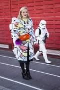 Kate Foley in Fendi coat and bag and Prada shoes