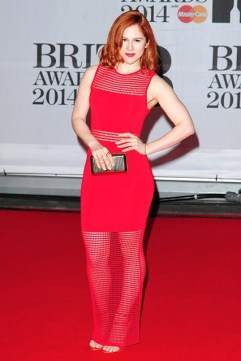 Katy B in a Torn By Ronny Kobo dress