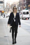 Kerry Pieri in Rag & Bone with a Uniqlo coat and Prada shoes