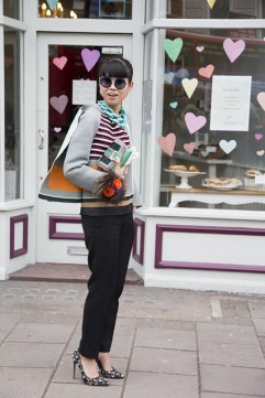 Leaf Greener in Balenciaga top, Celine trousers and Bionda Castana shoes