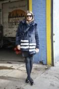 Natalie Massenet in a Shrimps coat with a Fendi bag