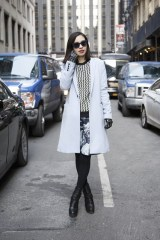 Natsumi Imi in a Le Ciel Blue coat, an Opening Ceremony jumper and Nicolas Kirkwood boots