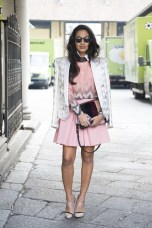 Nausheen Shah in Georgia Hardinge with a Balmain coat, Greymer shoes and a Rye bag