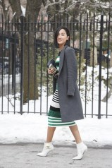 Nicole Warne in Ronny Kobo with a Zara coat and Nicolas Kirkwood shoes