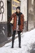 Nouk Torsing in a Burberry Prorsum coat with a Zara dress