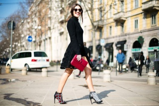 Patricia Manfield in an Armani dress with Navarra shoes and a Cartier bag
