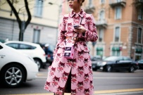 Ploy Chava in a Miu Miu coat with an Olympia Le Tan bag and Dolce & Gabbana shoes