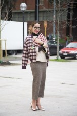 Tiany Kiriloff in a Malene Birger jacket, a Veronique Branquinho skirt and Kobe Husk shoes