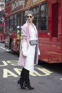 Wendy H Gilmore in Betty Jackson coat, Sophia Webster boots and Zara bag
