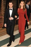Adam Levine in Salvatore Ferragamo with fiancée Behati Prinsloo