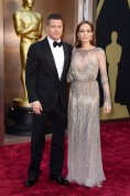 Angelina Jolie in Elie Saab with Brad Pitt