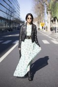 Chiara Biasi in a MSGM dress, Balmain jacket and Stella McCartney bag