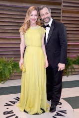 Leslie Mann in Jenny Packham with Judd Apotow.
