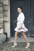 Nicole Warne in a Topshop top, Versace belt, Balmain skirt, Jimmy Choo shoes and a Lanvin bag