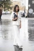 Nicole Warne in Carolina Herrera with a Mulberry bag