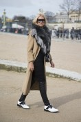 Nina Suess in a Zara dress, Loden Frey scarf, Maje coat, Chanel bag and Acne shoes