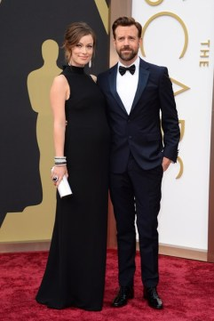 Olivia Wilde in Valentino and Lorraine Schwartz jewellery and Jason Sudeikisin Prada